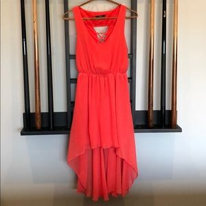Coral height-low dress